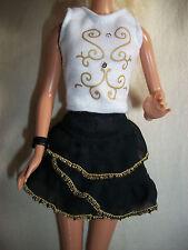 Barbie My Scene Hannah Montana Clothes Skirt Top Bracelet Black Ruffle Gold Trim