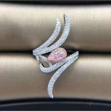 Luxury Water Drop Pink Topaz Irregularity Wedding Ring Silver Engagement Jewelry