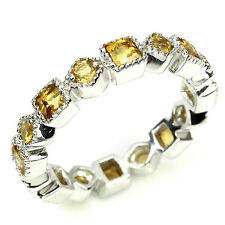 NATURAL ROUND,SQUARE RICH YELLOW CITRINE STERLING 925 SILVER ETERNITY BAND RING8