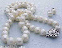 Genuine 7-8mm Natural White Freshwater Pearl Necklace 18'' + Earrings Set