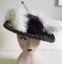 Antique Edwardian Wide Brim Straw Hat w Ostrich Feathers Suffragette