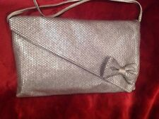 Lumered pewter chain mesh evening clutch purse with leather shoulder strap