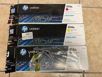 HP 414A MAGENTA BLACK & YELLOW LOT Toner Cartridge Ink Genuine EMPTY CARTRIDGES