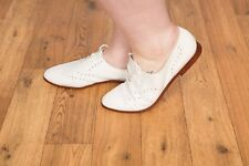 Ladies vintage white leather brogues size 8 Summer rockabilly M&S