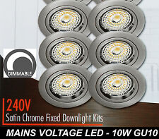 6 x DIMMABLE LED Fixed Downlight Kits Satin Chrome 10W 600Lm 240V GU10 Warm