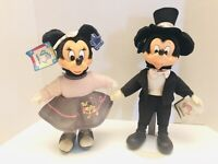 "Vtg Applause Walt Disney Prod Mickey And Minnie Rubber Face 12"" Dolls RARE!"