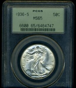 1936-S WALKING LIBERTY PCGS MS65 --- BRIGHT WHITE COIN, FINE LUSTER --- OGH