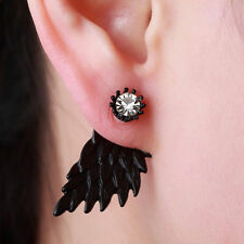 Black Girls Crystal Stud Earrings Angel Wings Bridal Rhinestone Dangle Party