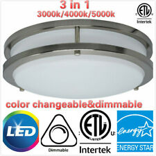 14.16 Inch 3in1 DOUBLE RING Brushed Nickel Flush Mount Ceiling Lamp,20/25W LED