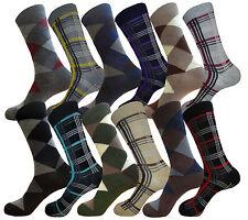 LOT OF 12 FASHION PATTERN FORMAL SOCKS MENS DRESS SOCKS SIZE 9-11 COTTON SOCKS