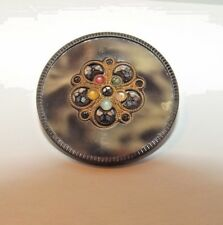 Fantastic Vintage Two-Color Perforate Celluloid Button with Steel Cuts (966)