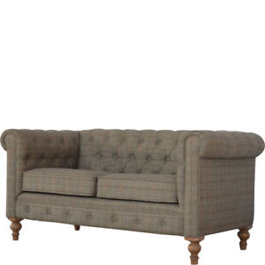 Chesterfield 2 Seater Sofa Upholstered in Tweed - Deep Buttoned Traditional sofa