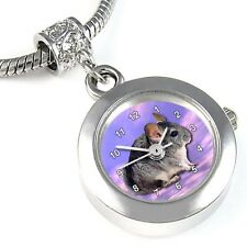 Chinchilla Animal Silver Quartz Watch European Bracelet Spacer Charm Bead EBA34
