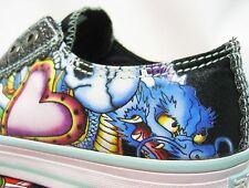 ED HARDY LR Glitter Shoes 5 36 2.5 21 Women dragon heart flower bone skull NEW