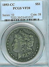 1893-CC Morgan Dollar : PCGS VF20