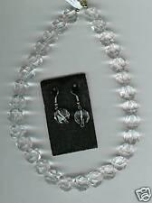 Bergkristall Kette facettiert mit Silber Ohrhänger