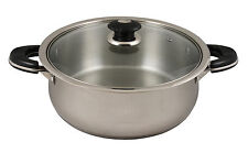 CONCORD 10 Quart 18/10 Tri-Ply Stainless Steel Low Stock Pot Chicken Fryer w/Lid