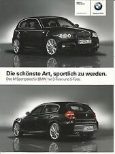Prospekt Infoblatt BMW 1er 2009 M Sportpaket für 3 + 5 Türer