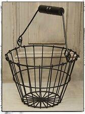 Primitive Reproduction~ Vintage ~`Metal Black Egg Basket` Wood Handle`Farmhouse`