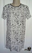 Dress Forever 21  White Short Sleeve Cap Sleeve Black Paint Splatter Small S SL
