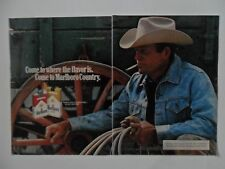 1979 Print Ad Marlboro Man Cigarettes ~ Western Cowboy Rest by the Wagon