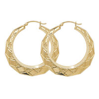 9 Carat Yellow Gold Ladies Large Round Earrings Hoops Creole 37MM 4gr Brand NEW