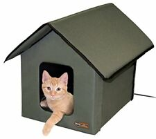New K&H Manufacturing Outdoor Kitty House 18 x 22 x 17 Inches Heated Olive
