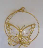 Ornament- BUTTERFLY in a Circle - Austrian  Crystals- 24K gold plated -clear