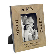 Personalised Mummy Daddy & Me Oak Wood Veneer Picture Photo Frame 6x4 Gift Idea