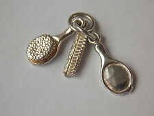 925 Sterling Silver Brush, Combe and Mirror Charm