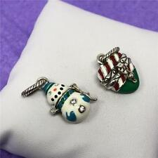 BRIGHTON SET OF 2 CHRISTMAS CHARMS  BOTH OPEN  SNOWMAN AND CANDY CANE