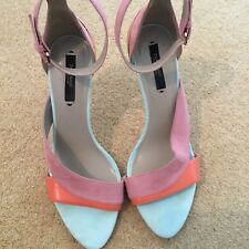 ZARA MULTICOLOUR PINK CORL BLUE SUEDE WITH GOLD HIGH HEEL STRAPPY SANDALS SIZE 6