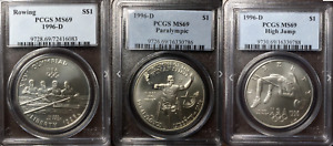 1996-D Olympic Silver $1 Paralympics High Jump Rowing MS 69 Top 100 Modern Coins