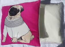 2 x Pack of Pug in Jumper Filled Cushions - Pink Animal Dog Print Soft Comfort