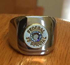 Federal 38 Special Nickel Bullet Casing Steel Ring Sz 7 With Crystal