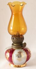 Oil Lamp Porcelain Brown Glass Shade Gold Maple Leaf Cherry Blossoms Vtg Japan