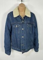 WOMENS ASOS SIZE UK 10 BLUE WASH CASUAL PADDED WINTER DENIM JEAN JACKET COAT