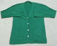 XL Unbranded Cotton Long Sleeve V-Neck Women's Woman's Cardigan Sweater Green