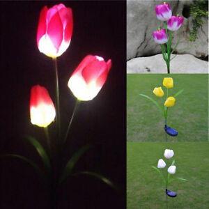 Tulip Outdoor Solar Powered Flower LED Light Yard Garden Path Landscape La