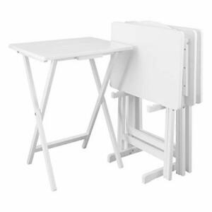 Casual Home 5pcs Set-White Tray Table