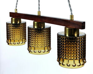 1960s Swedish Scandinavian Rosewood & Amber Glass 3-Shade Pendant Lamp - MCM