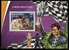 MALDIVES 2016 CHESS MASTERS CARLSEN & KRAMNIK SOUVENIR SHEET MINT NH