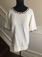 JCREW Short sleeve bling embellished White Top Size small