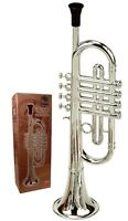 Childrens Trumpet Silver Musical Instrument Ideal First Musical Music Toy Silver