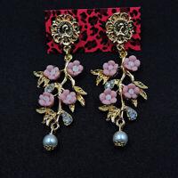 Betsey Johnson Crystal Pearl Pink Cute Rose Flower Women's Ear Stud Earrings