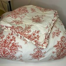 Toile King Comforter Bedspread Red Rose Print King Pillow Sham Cotton