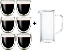 6 Klasique Doppelwandige Gläser 250ml+ Karaffe Glas Saftglas Set Latte Macchiato