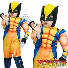 Marvel Superhero Wolverine Boys X-Men Kids Comic Book Movie Fancy Dress Costume