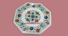 "15"" marble dining coffee corner center side inlay octagon malachite table top"