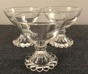 3 Vintage Anchor Hocking Bubble Boopie Clear Glass Dessert Sherbet Glasses